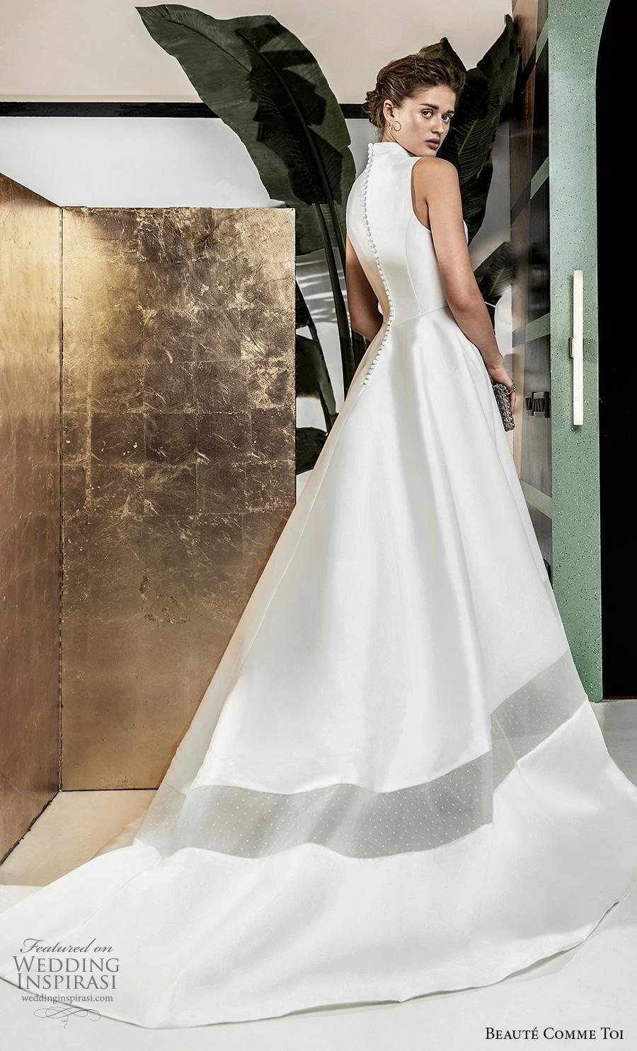 beaute comme toi 2019 bridal sleeveless high neck simple minimalist satin elegant classy a  line wedding dress covered button back chapel train (deborah) bv