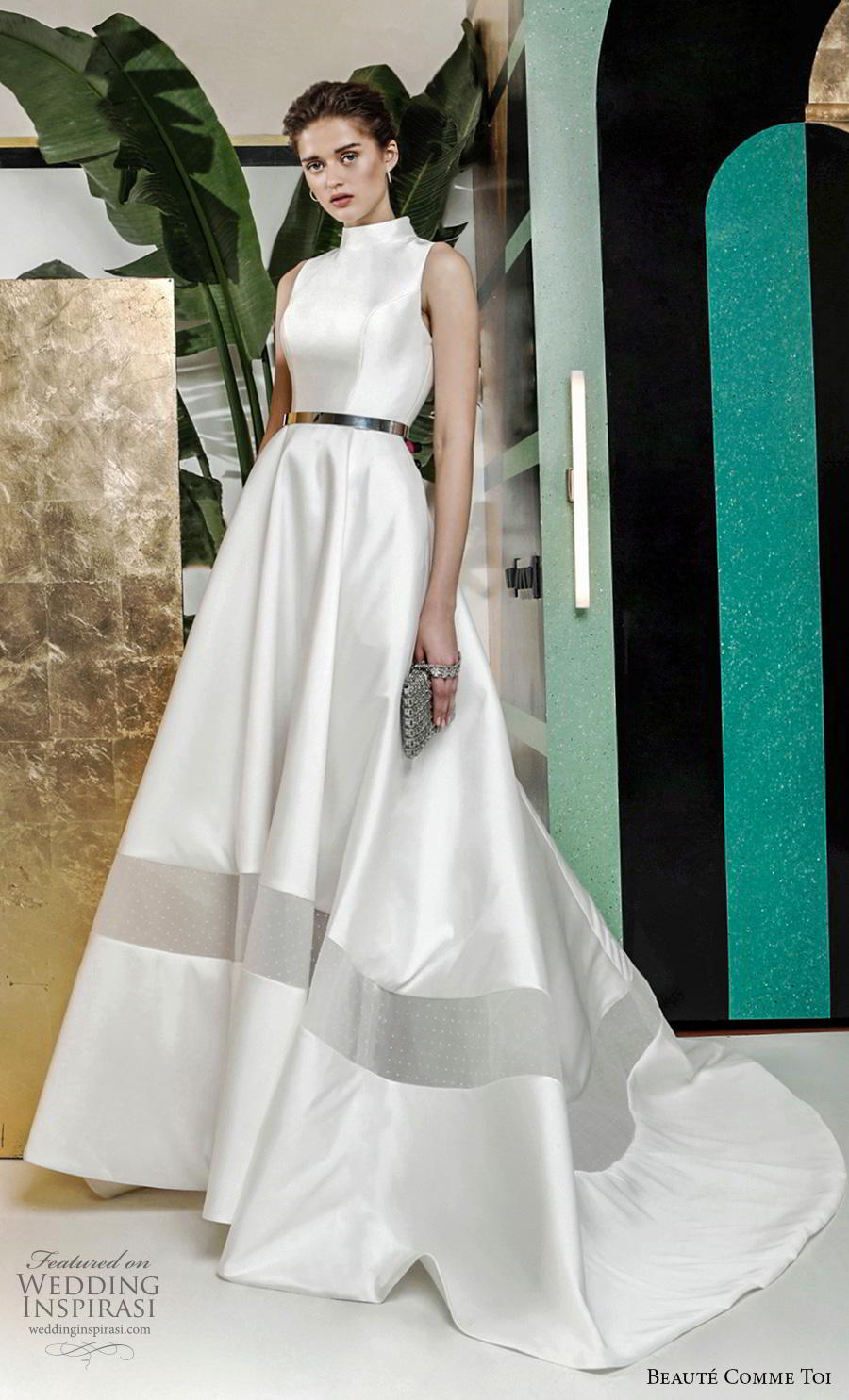 beaute comme toi 2019 bridal sleeveless high neck simple minimalist satin elegant classy a  line wedding dress covered button back chapel train (deborah) mv