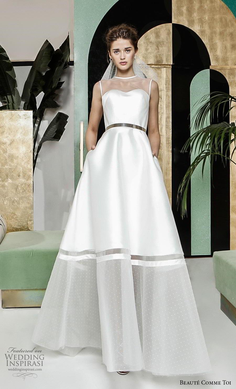beaute comme toi 2019 bridal sleeveless illusion jewel semi sweetheart neckline simple elegant a  line wedding dress pockets sweep train (cyliane) mv