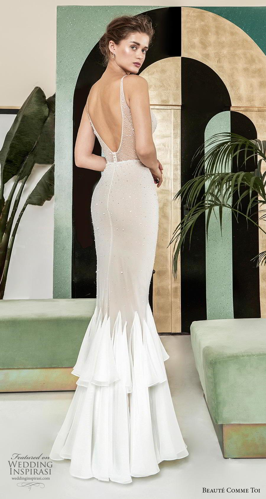 beaute comme toi 2019 bridal sleeveless with strap illusion v sweetheart neckline heavily embellished bodice glitter elegant mermaid wedding dress (mirianna) bv