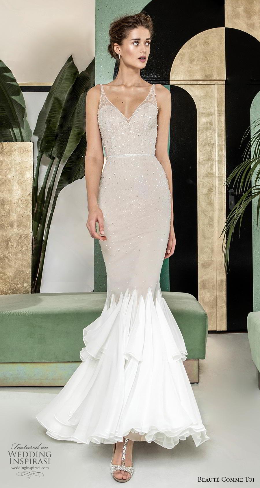 beaute comme toi 2019 bridal sleeveless with strap illusion v sweetheart neckline heavily embellished bodice glitter elegant mermaid wedding dress (mirianna) mv