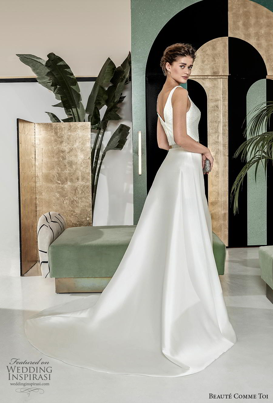 beaute comme toi 2019 bridal sleeveless with strap v neck simple minimalist elegant classy a  line wedding dress v back chapel train (ombeline) bv