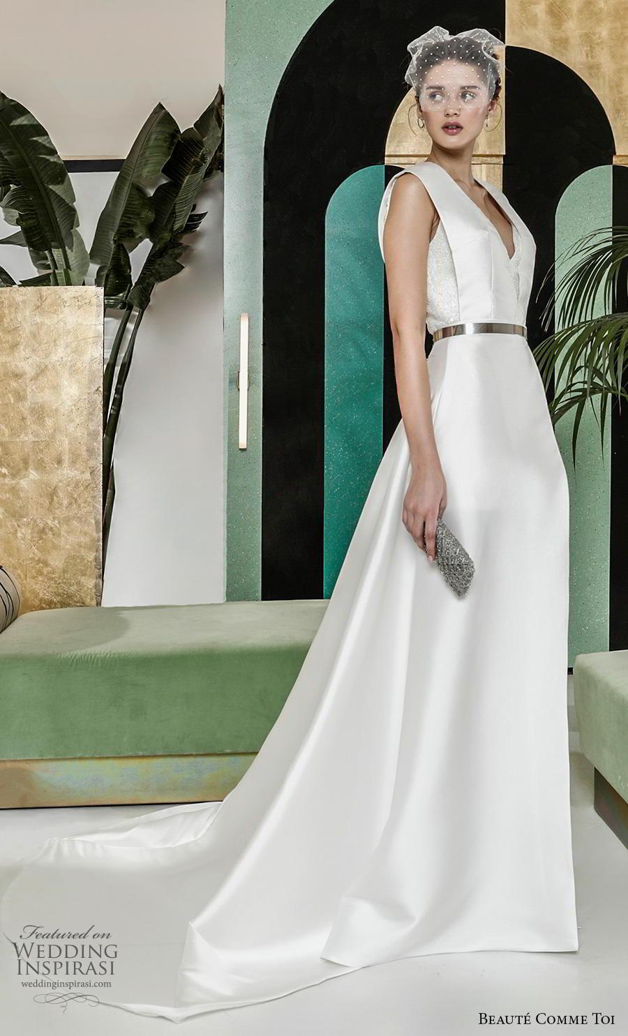 beaute comme toi 2019 bridal sleeveless with strap v neck simple minimalist elegant classy a  line wedding dress v back chapel train (ombeline) mv