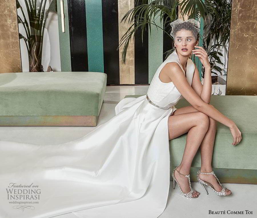 beaute comme toi 2019 bridal sleeveless with strap v neck simple minimalist slit skirt elegant classy a  line wedding dress v back chapel train (ombeline) mv