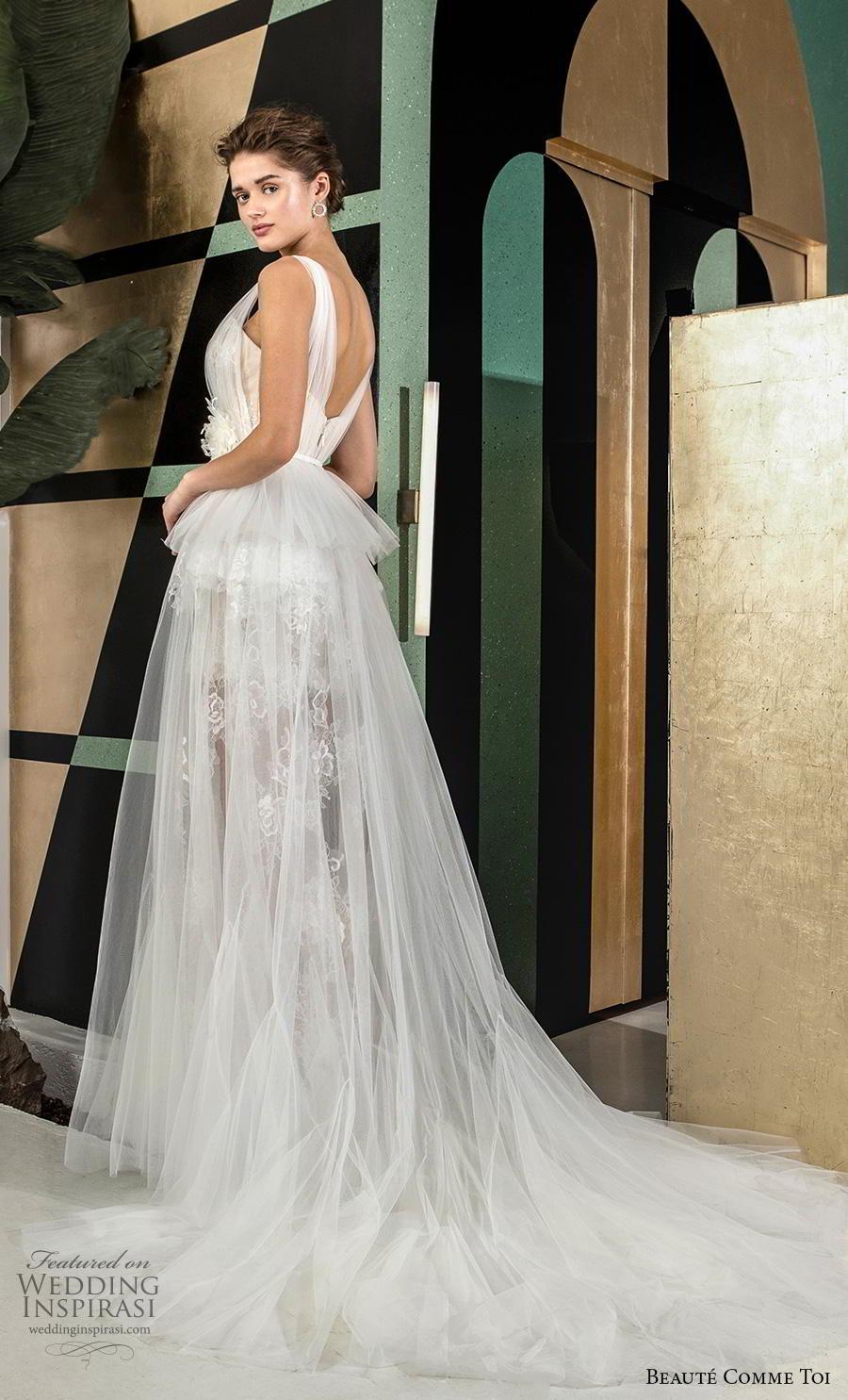 beaute comme toi 2019 bridal sleeveless with tulle strap semi sweetheart neckline full embellishment short wedding dress a  line overskirt backless chapel train (emeline) bv