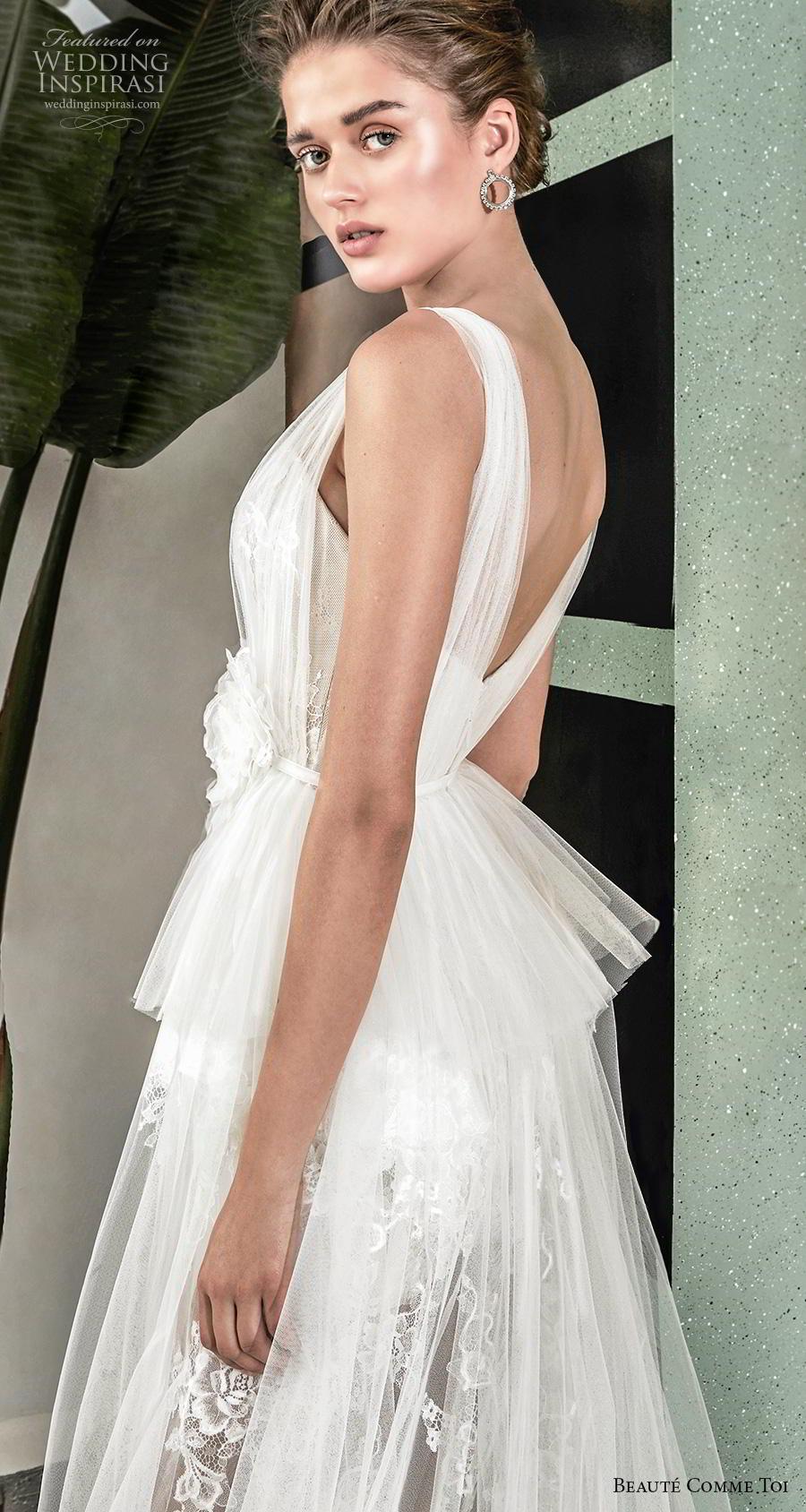 beaute comme toi 2019 bridal sleeveless with tulle strap semi sweetheart neckline full embellishment short wedding dress a  line overskirt backless chapel train (emeline) zbv