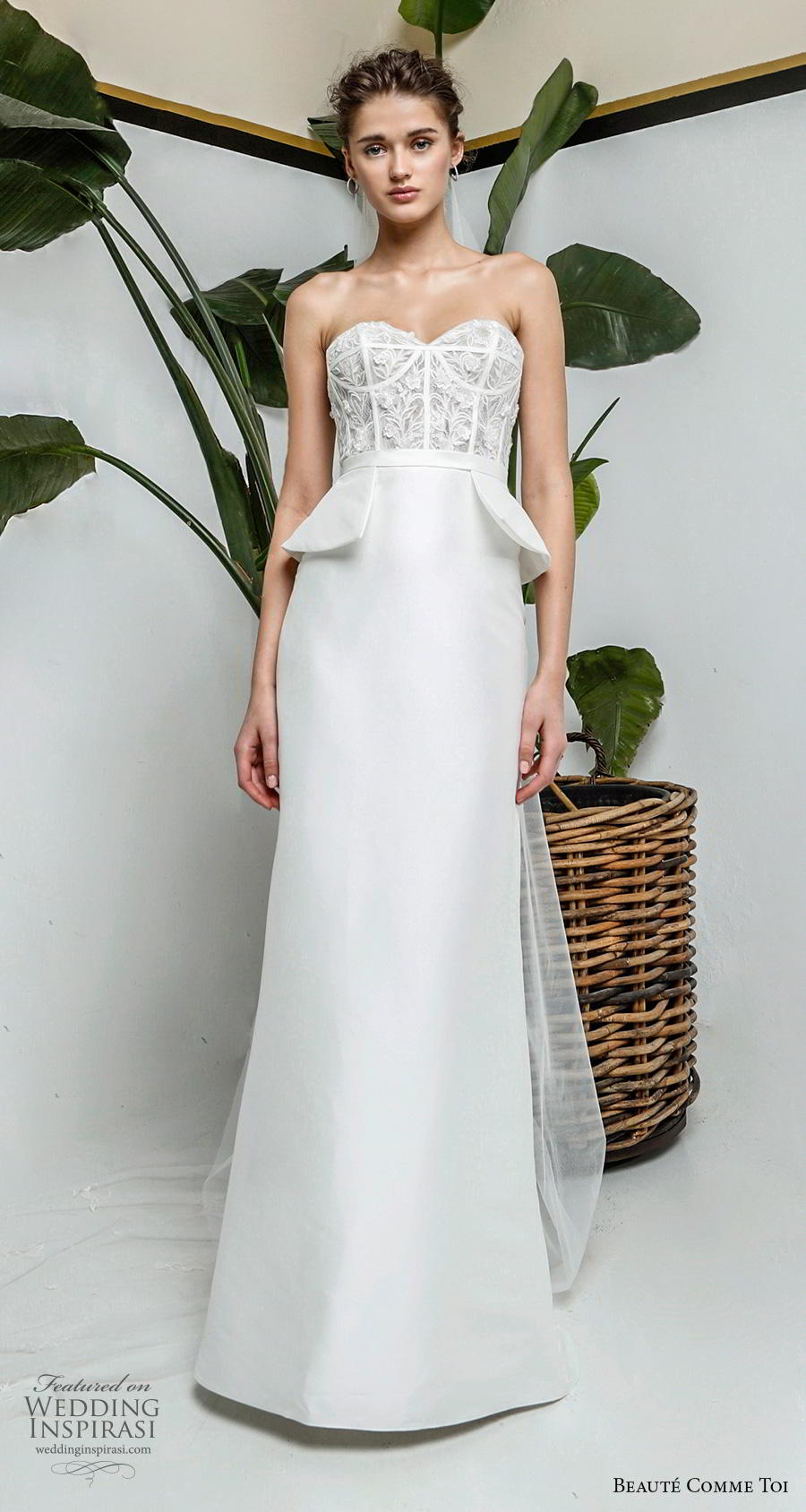 beaute comme toi 2019 bridal strapless sweetheart neckline heavily embellshed bodice bustier peplum romantic modified a  line wedding dress sweep train (beatrice) mv