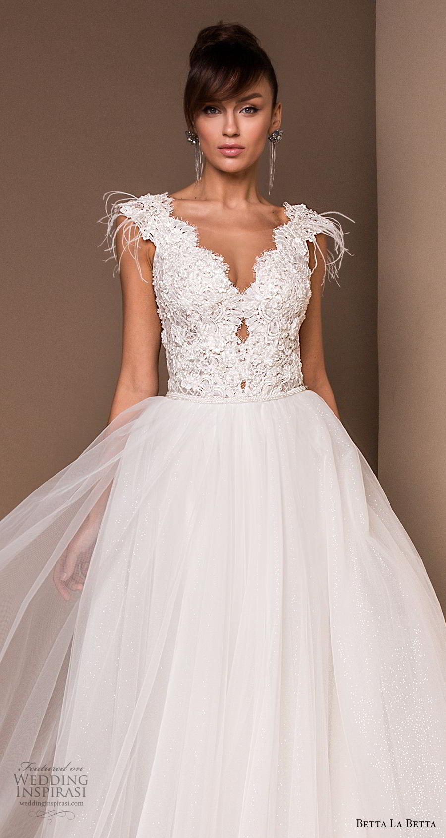 betta la betta 2020 bridal cap sleeves v neck heavily embellished bodice romantic ball gown a  line wedding dress v back chapel train (13) zv