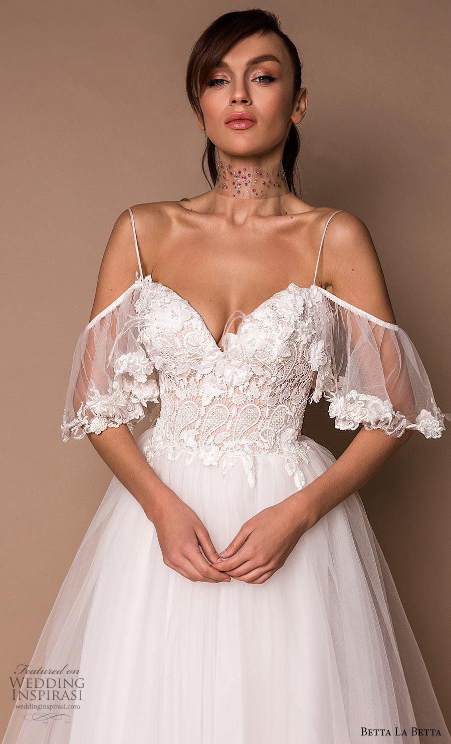 betta la betta 2020 bridal spaghetti strap cold shoulder sweetheart neckline heavily embellished bodice tulle skirt romantic a  line wedding dress backless chapel train (7) zv