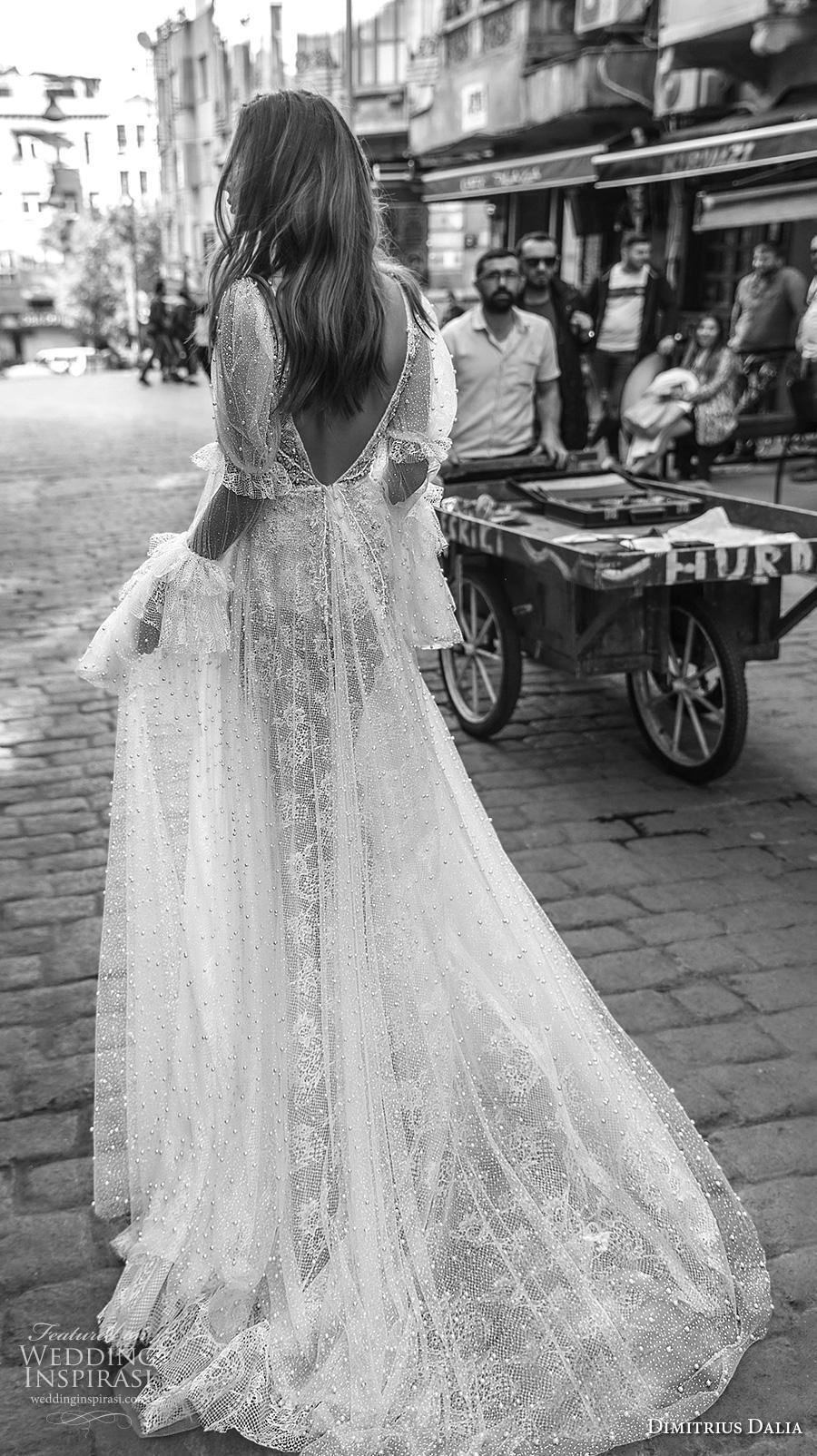dimitrius dalia 2019 bridal long poet leg mutton sleeves deep v neck full embellishment bohemian sexy a  line wedding dress backless low v back chapel train (9) bv