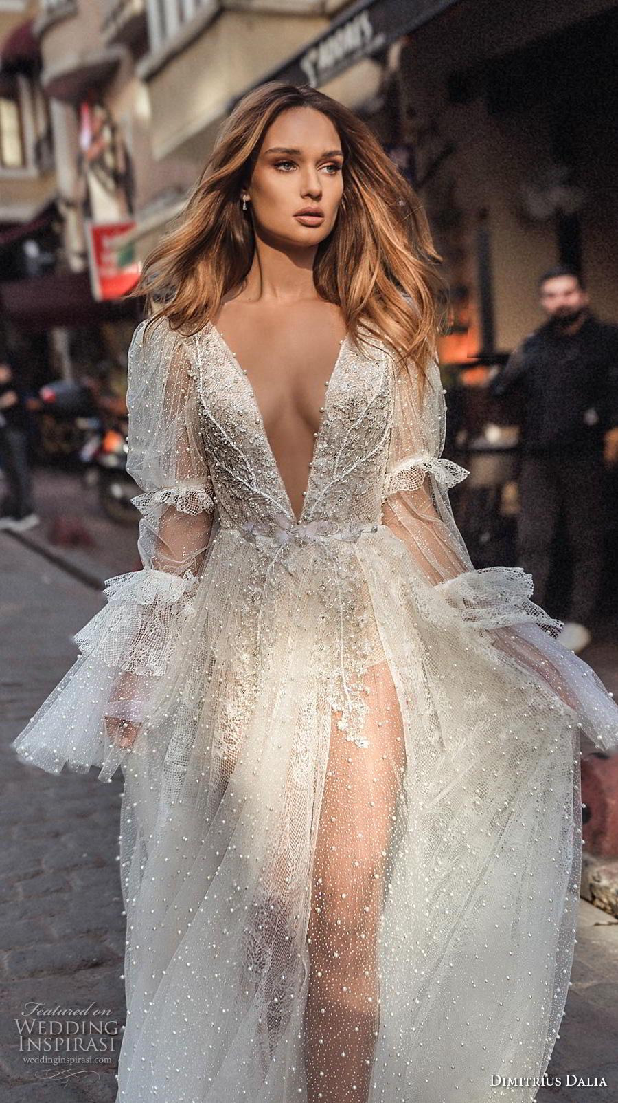 dimitrius dalia 2019 bridal long poet leg mutton sleeves deep v neck full embellishment bohemian sexy a  line wedding dress backless low v back chapel train (9) zv