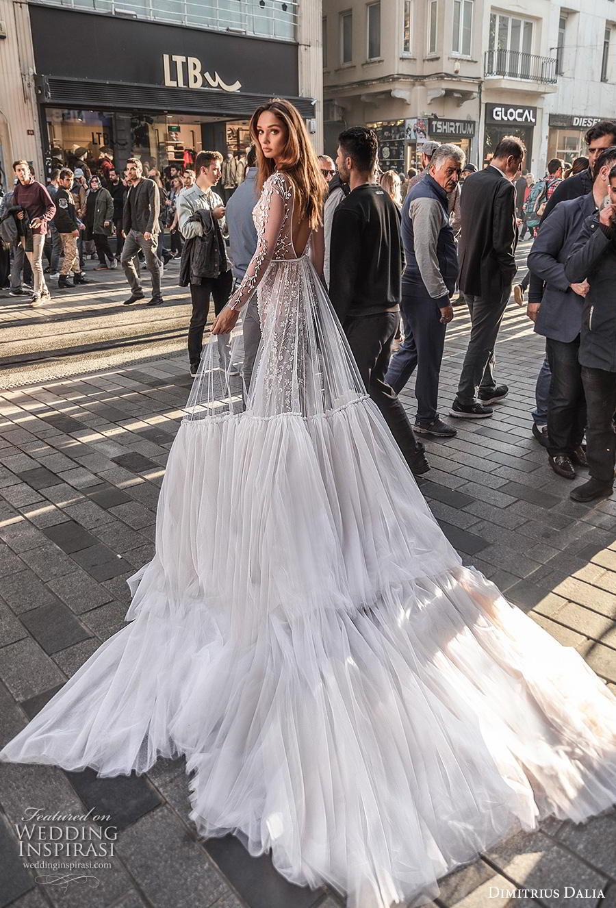 dimitrius dalia 2019 bridal long sleeves deep v neck full embellishment sexy elegant mermaid wedding dress backless low scoop back chapel train (11) bv