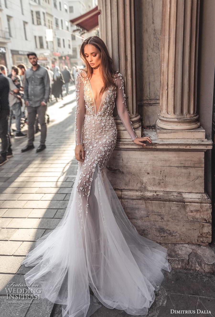 dimitrius dalia 2019 bridal long sleeves deep v neck full embellishment sexy elegant mermaid wedding dress backless low scoop back chapel train (11) mv