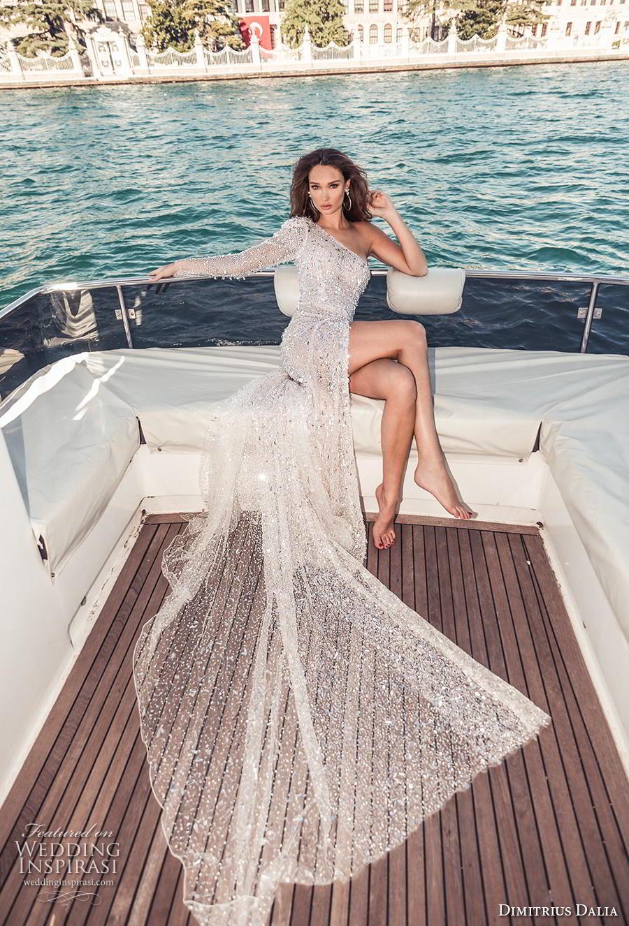 dimitrius dalia 2019 bridal long sleeves one shoulder full embellishment high slit skirt glitter glamorous soft a  line wedding dress chapel train (16) mv