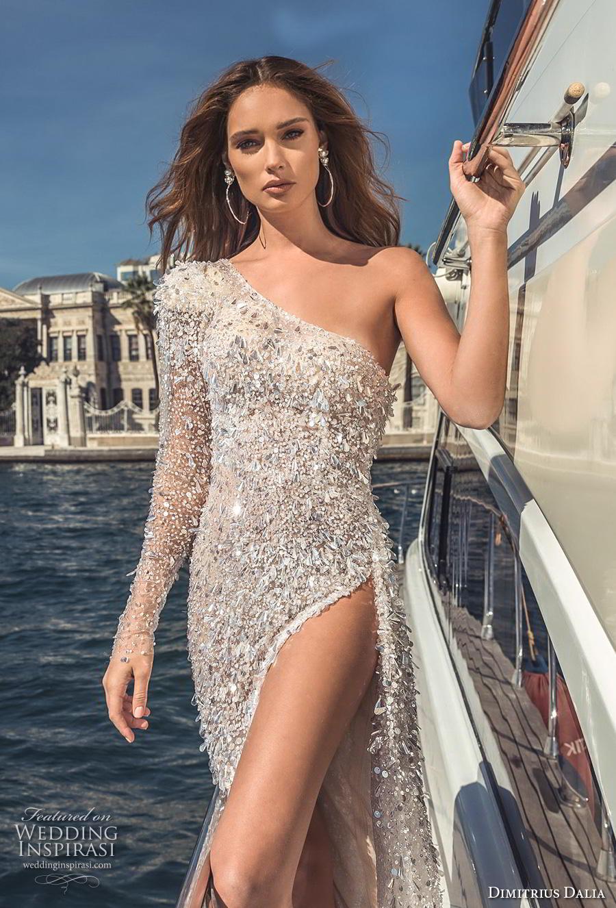 dimitrius dalia 2019 bridal long sleeves one shoulder full embellishment high slit skirt glitter glamorous soft a  line wedding dress chapel train (16) zv