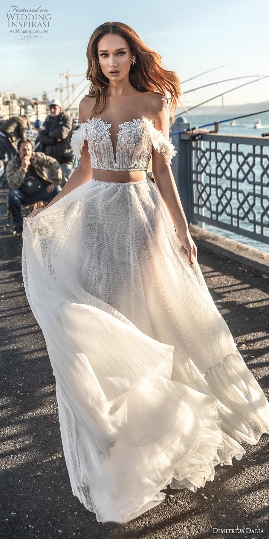 dimitrius dalia 2019 bridal off the shoulder deep sweetheart neckline heavily embellished bodice crop top romantic soft a  line wedding dress chapel train (1) lv