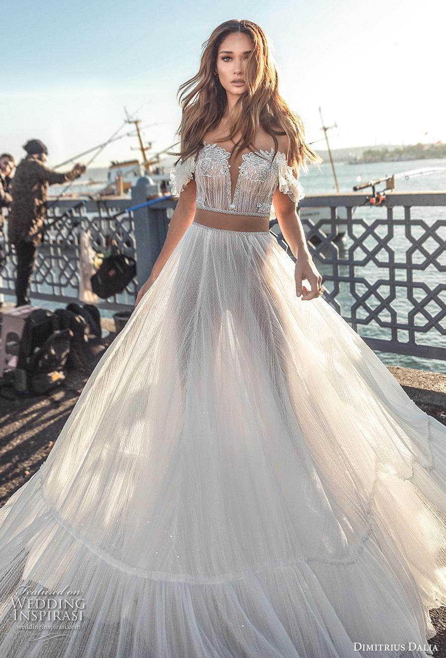 dimitrius dalia 2019 bridal off the shoulder deep sweetheart neckline heavily embellished bodice crop top romantic soft a  line wedding dress chapel train (1) mv