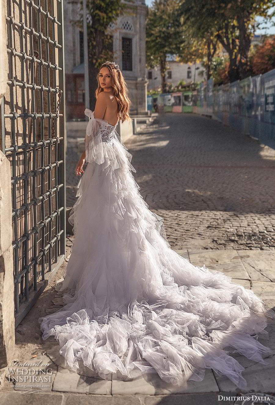 dimitrius dalia 2019 bridal off the shoulder sweetheart neckline full embellishment bustier elegant fit and flare wedding dress a  line overskirt mid back chapel train (3) bv
