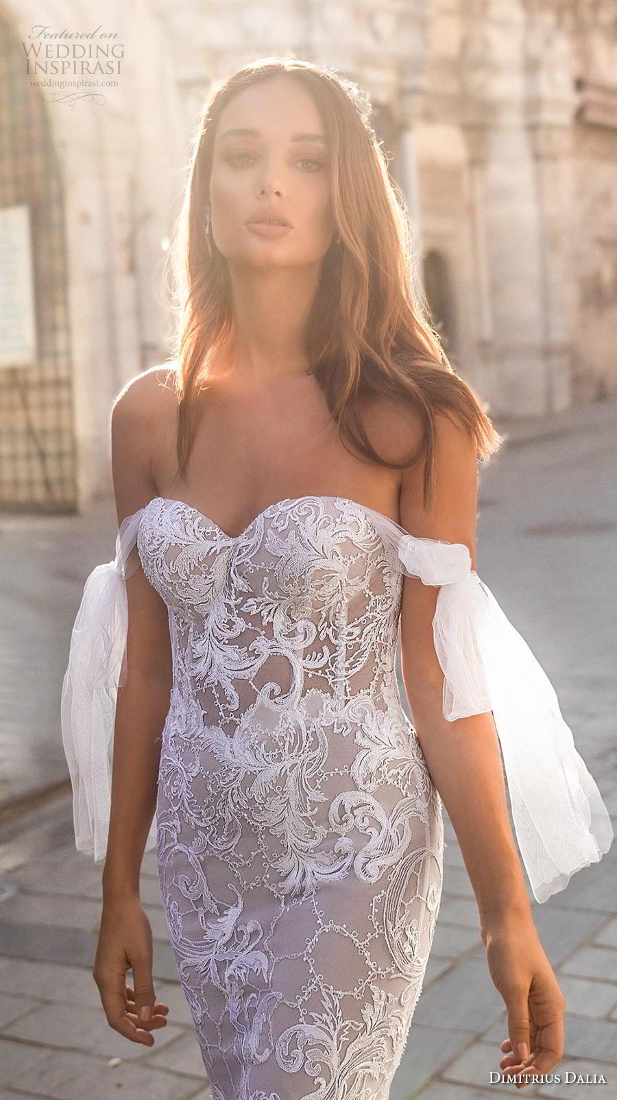 dimitrius dalia 2019 bridal off the shoulder sweetheart neckline full embellishment bustier elegant fit and flare wedding dress  mid back medium train (3) zv