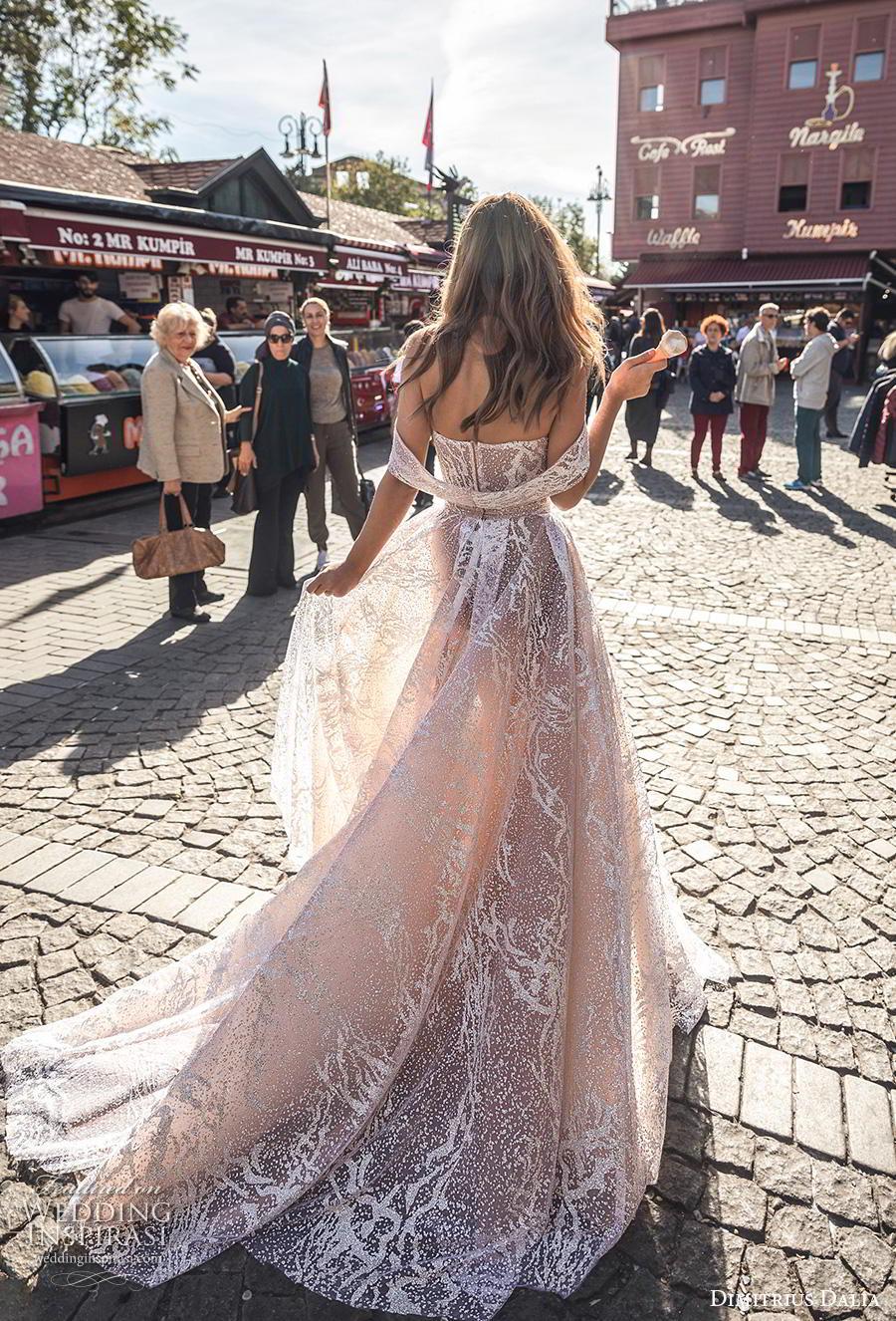 dimitrius dalia 2019 bridal off the shoulder sweetheart neckline full embellishment slit skirt glamorous sexy champagne color a  line wedding dress mid back chapel train (5) bv