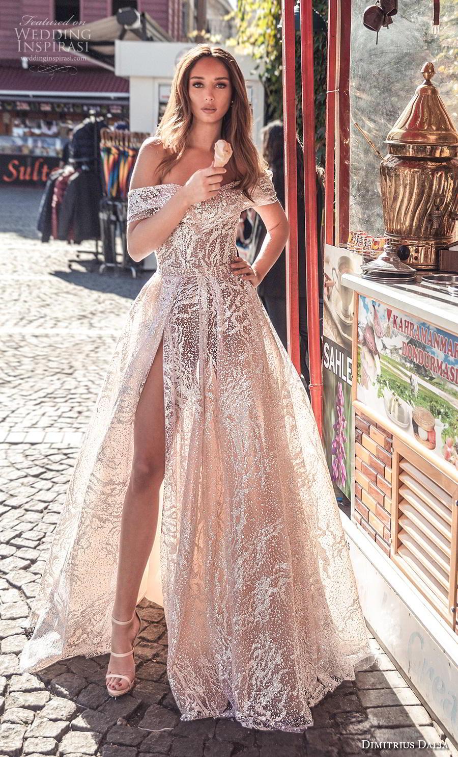 dimitrius dalia 2019 bridal off the shoulder sweetheart neckline full embellishment slit skirt glamorous sexy champagne color a  line wedding dress mid back chapel train (5) mv