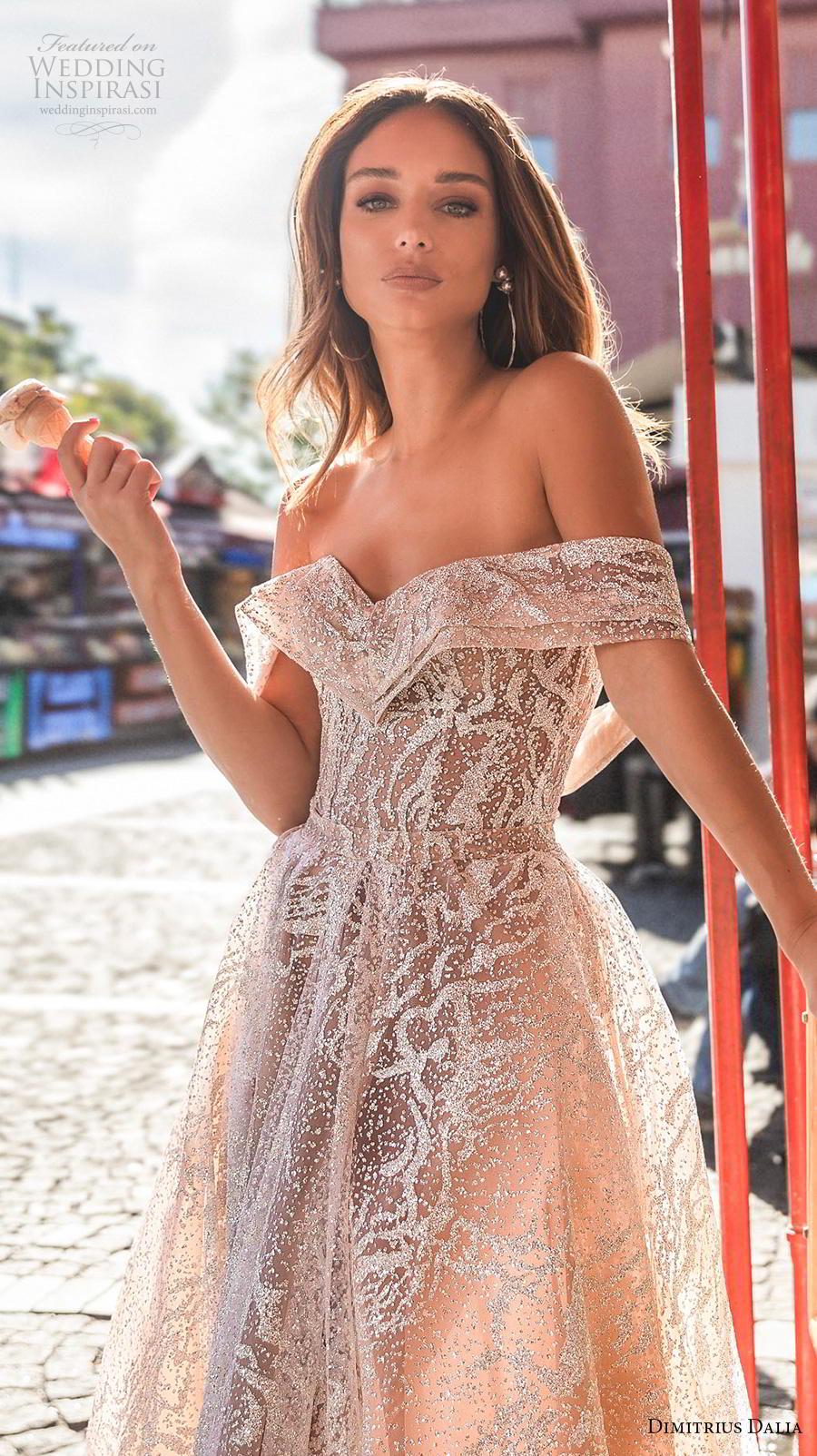 dimitrius dalia 2019 bridal off the shoulder sweetheart neckline full embellishment slit skirt glamorous sexy champagne color a  line wedding dress mid back chapel train (5) zv