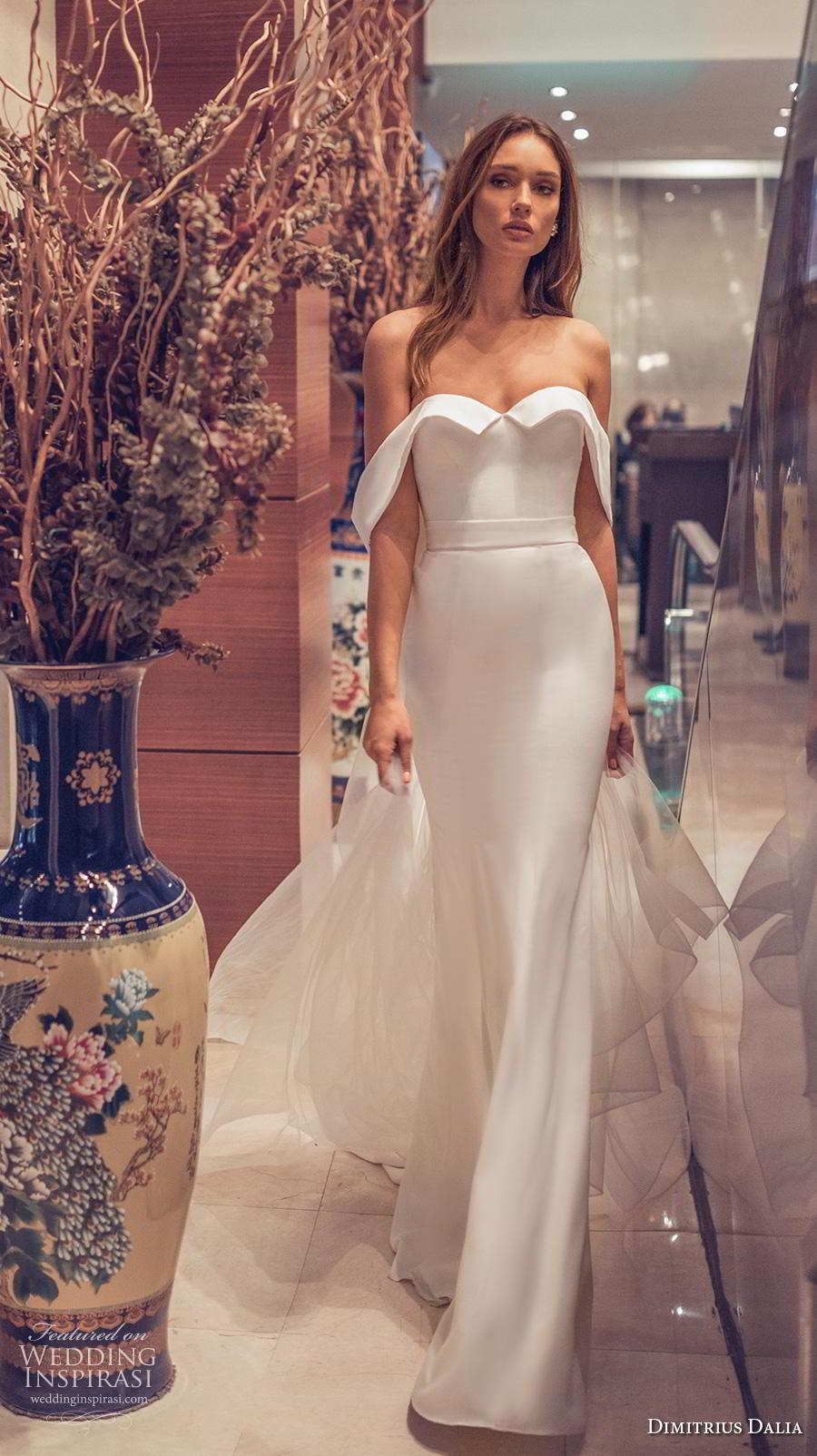 dimitrius dalia 2019 bridal off the shoulder sweetheart neckline simple minimalist elegant sheath wedding dress chapel train (15) mv