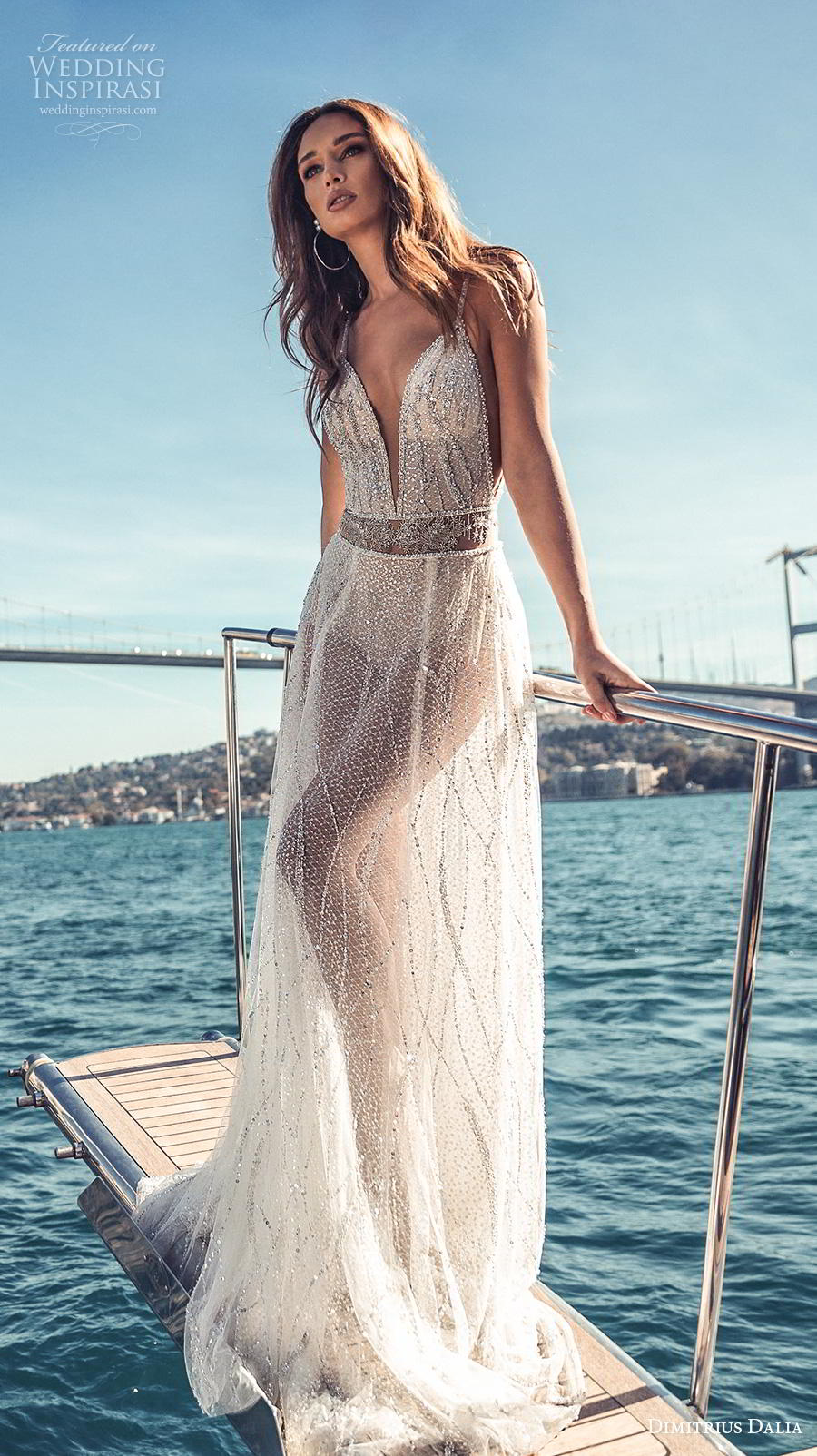 dimitrius dalia 2019 bridal sleeveless spaghetti strap deep plunging sweetheart neckline glitter glamorous sexy soft a  line wedding dress backless low back chapel train (6) mv