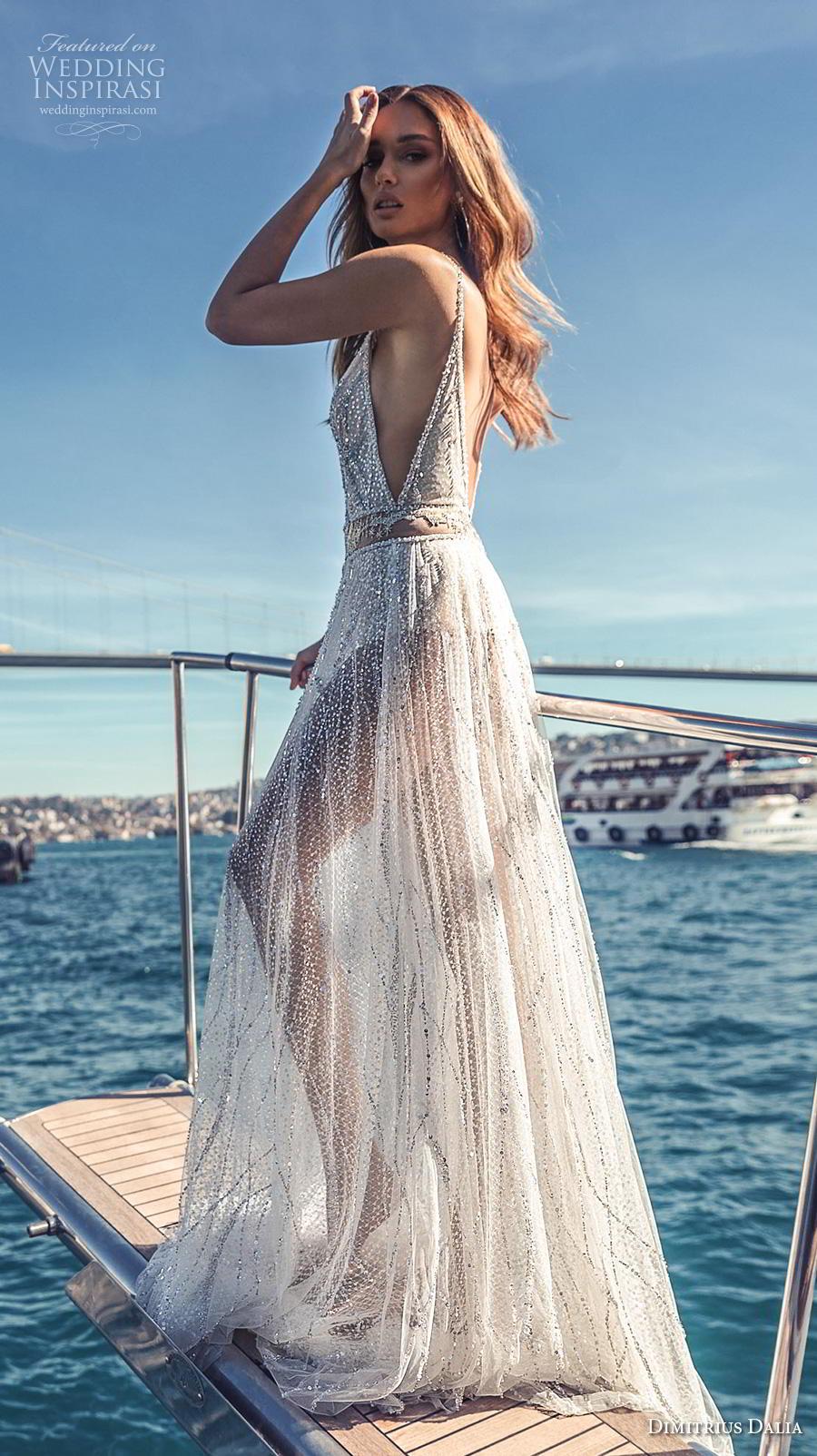 dimitrius dalia 2019 bridal sleeveless spaghetti strap deep plunging sweetheart neckline glitter glamorous sexy soft a  line wedding dress backless low back chapel train (6) sdv