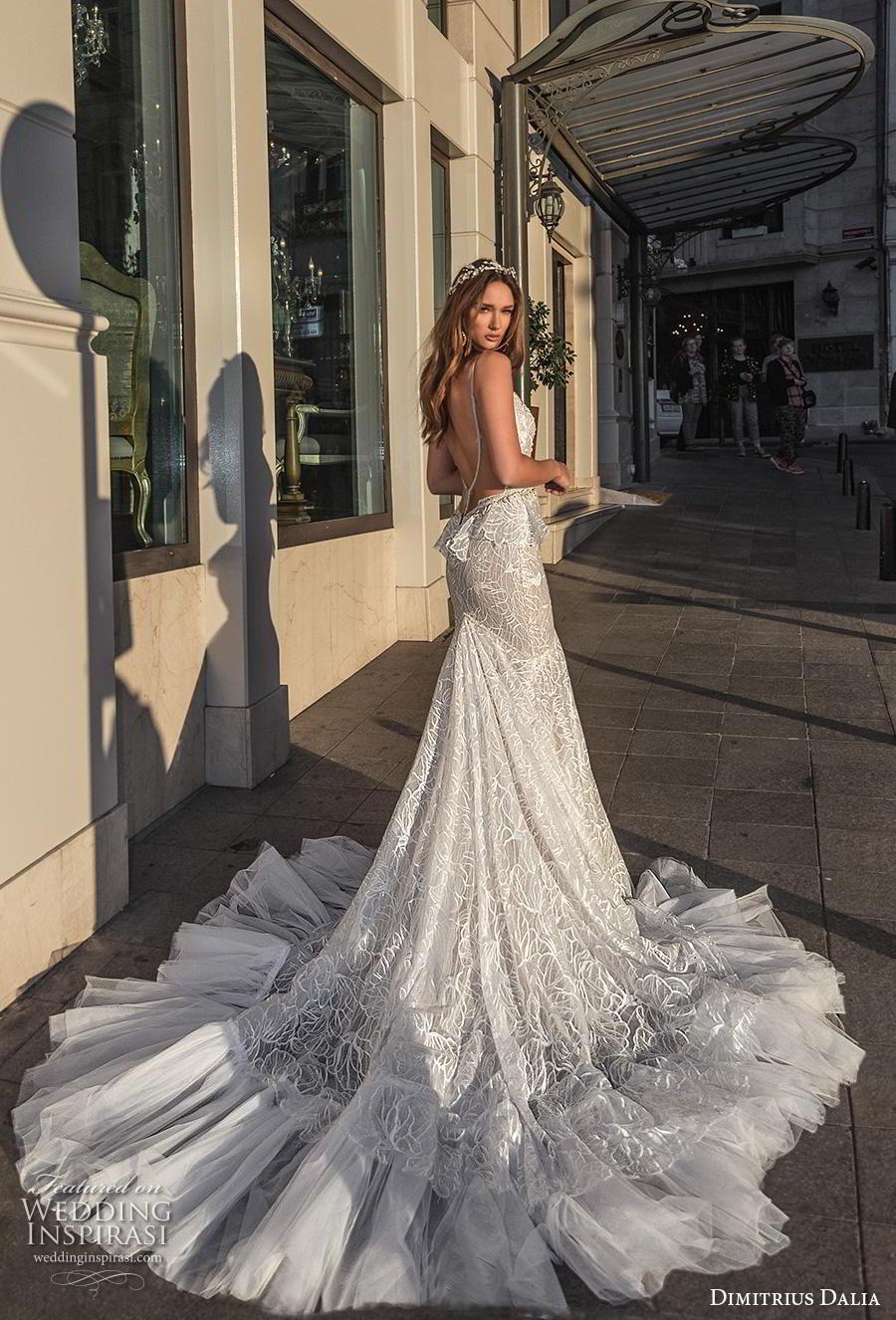 dimitrius dalia 2019 bridal sleeveless spaghetti strap deep sweetheart neckline full embellishment peplum elegant glamorus mermaid wedding dress backless low back chapel train (12) bv