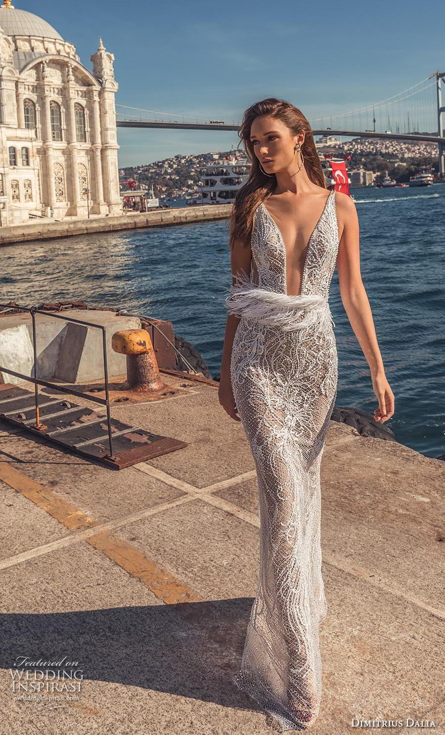dimitrius dalia 2019 bridal sleeveless with strap deep plunging v neck fringe waist sexy elegant sheath wedding dress sweep train (7) mv