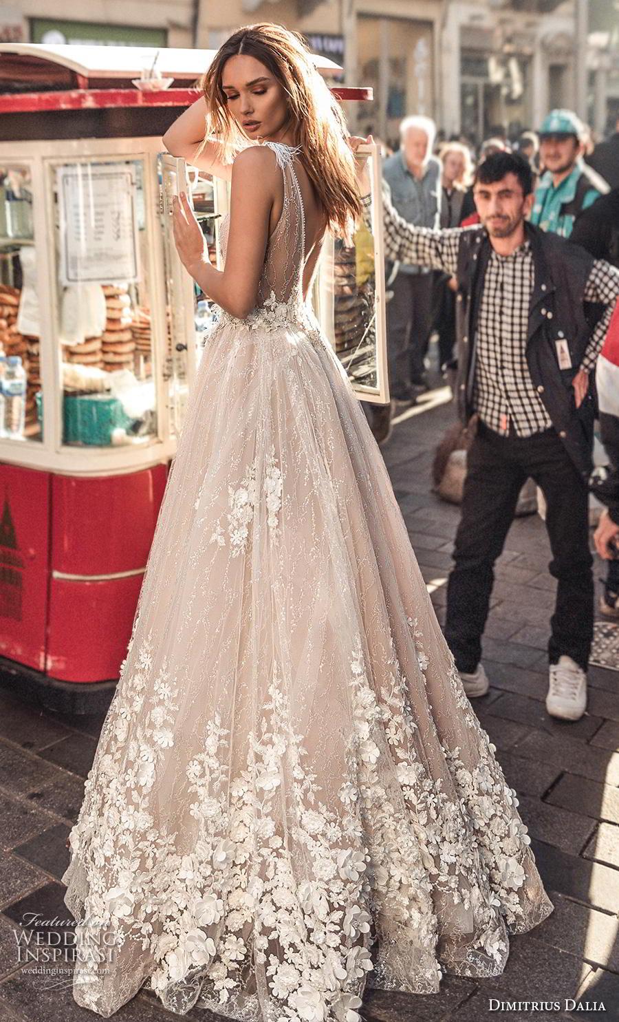 dimitrius dalia 2019 bridal sleeveless with strap deep v neck heavily embellished bodice hem sexy romantic a  line wedding dress low v back sweep train (10) bv