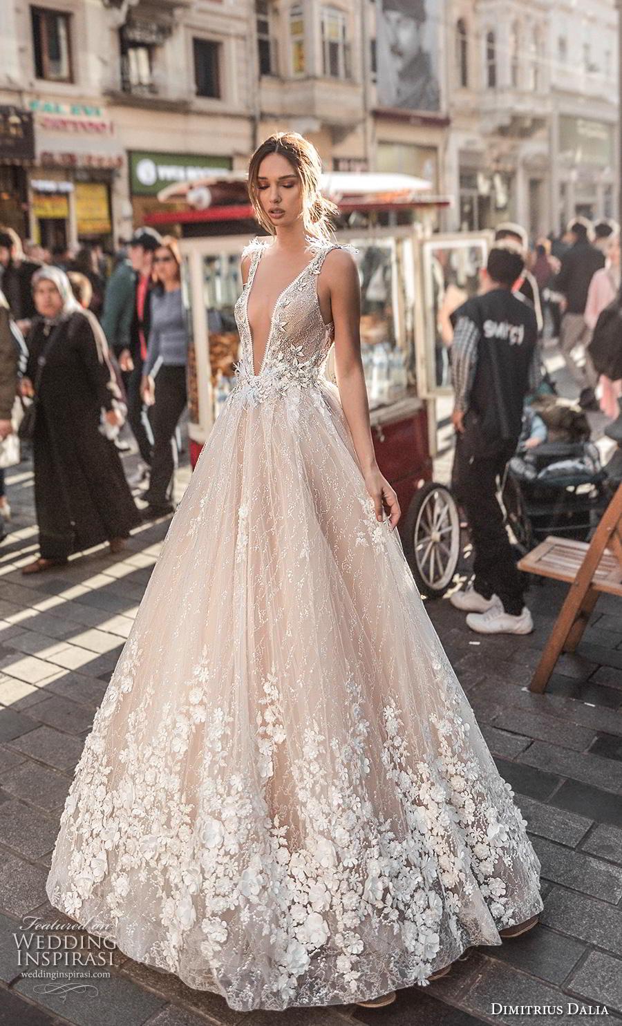dimitrius dalia 2019 bridal sleeveless with strap deep v neck heavily embellished bodice hem sexy romantic a  line wedding dress low v back sweep train (10) mv