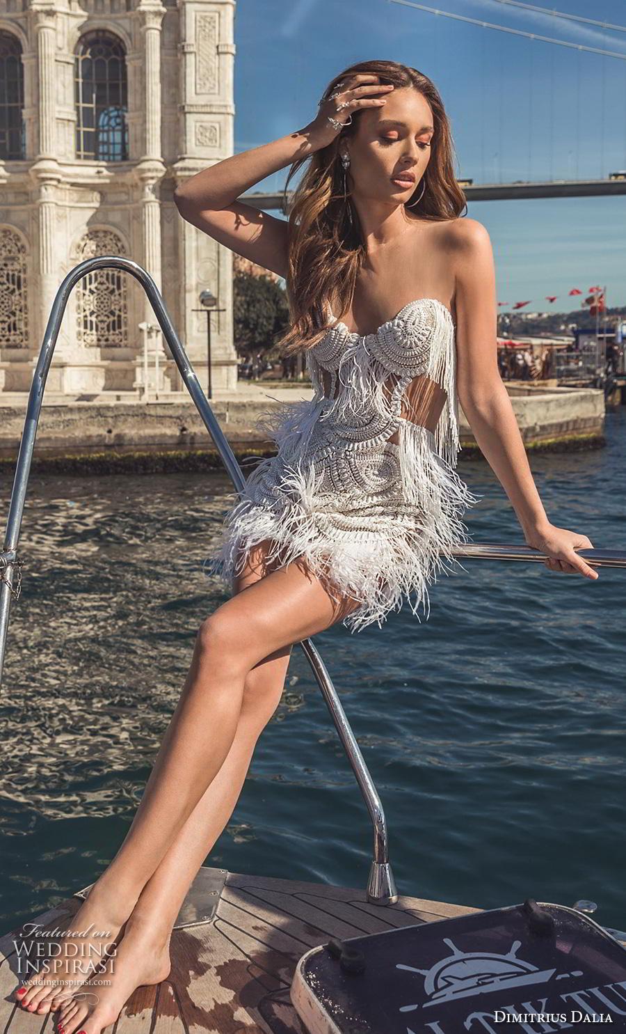 dimitrius dalia 2019 bridal strapless sweetheart neckline full embellishment fringe sexy modern mini skirt wedding dess (17) mv