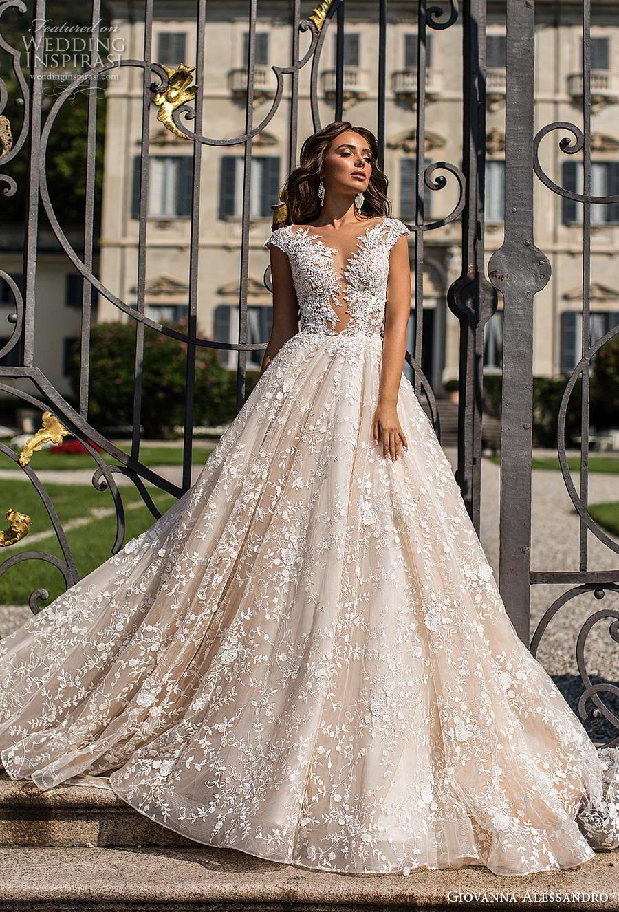 giovanna alessandro 2019 bridal cap sleeves deep plunging sweetheart neckline full embellishment princess a  line wedding dress sheer button back chapel train (4) mv