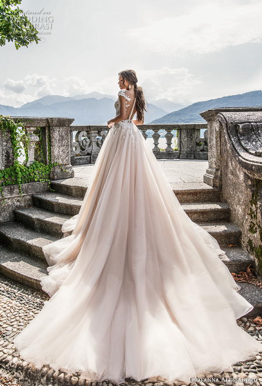 giovanna alessandro 2019 bridal cap sleeves v neck heavily embellished bodice romantic princess blush a  line wedding dress sheer button back royal train (11) bv