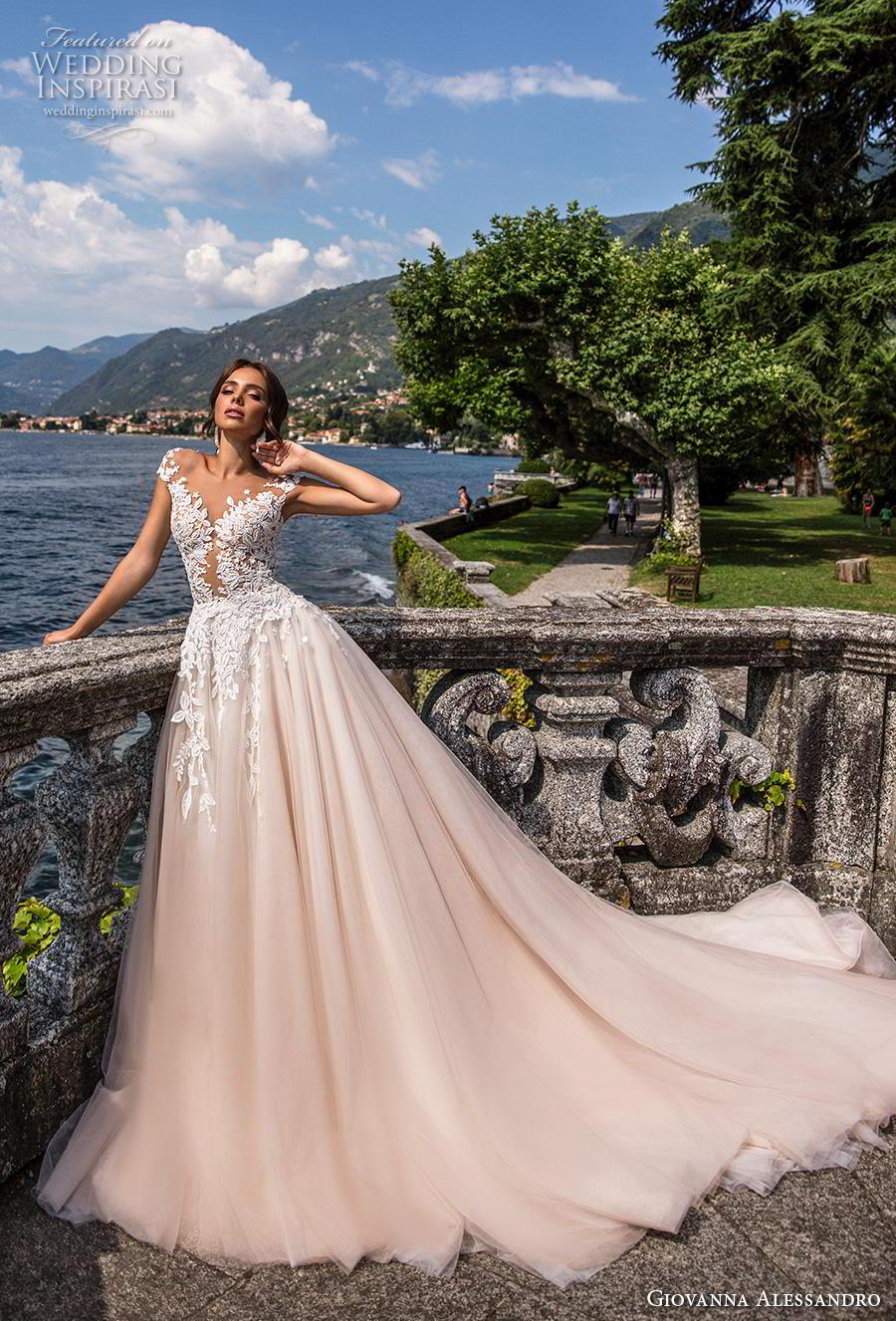 giovanna alessandro 2019 bridal cap sleeves v neck heavily embellished bodice romantic princess blush a  line wedding dress sheer button back royal train (11) mv
