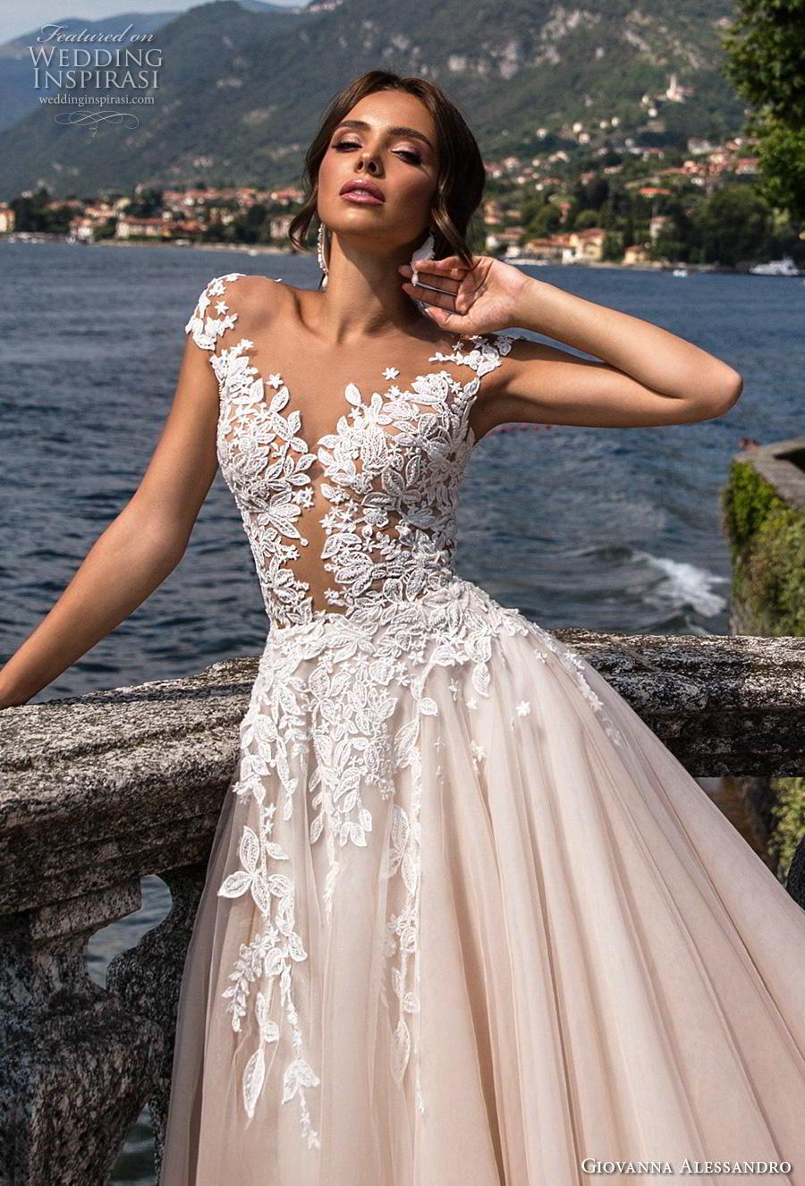giovanna alessandro 2019 bridal cap sleeves v neck heavily embellished bodice romantic princess blush a  line wedding dress sheer button back royal train (11) zv