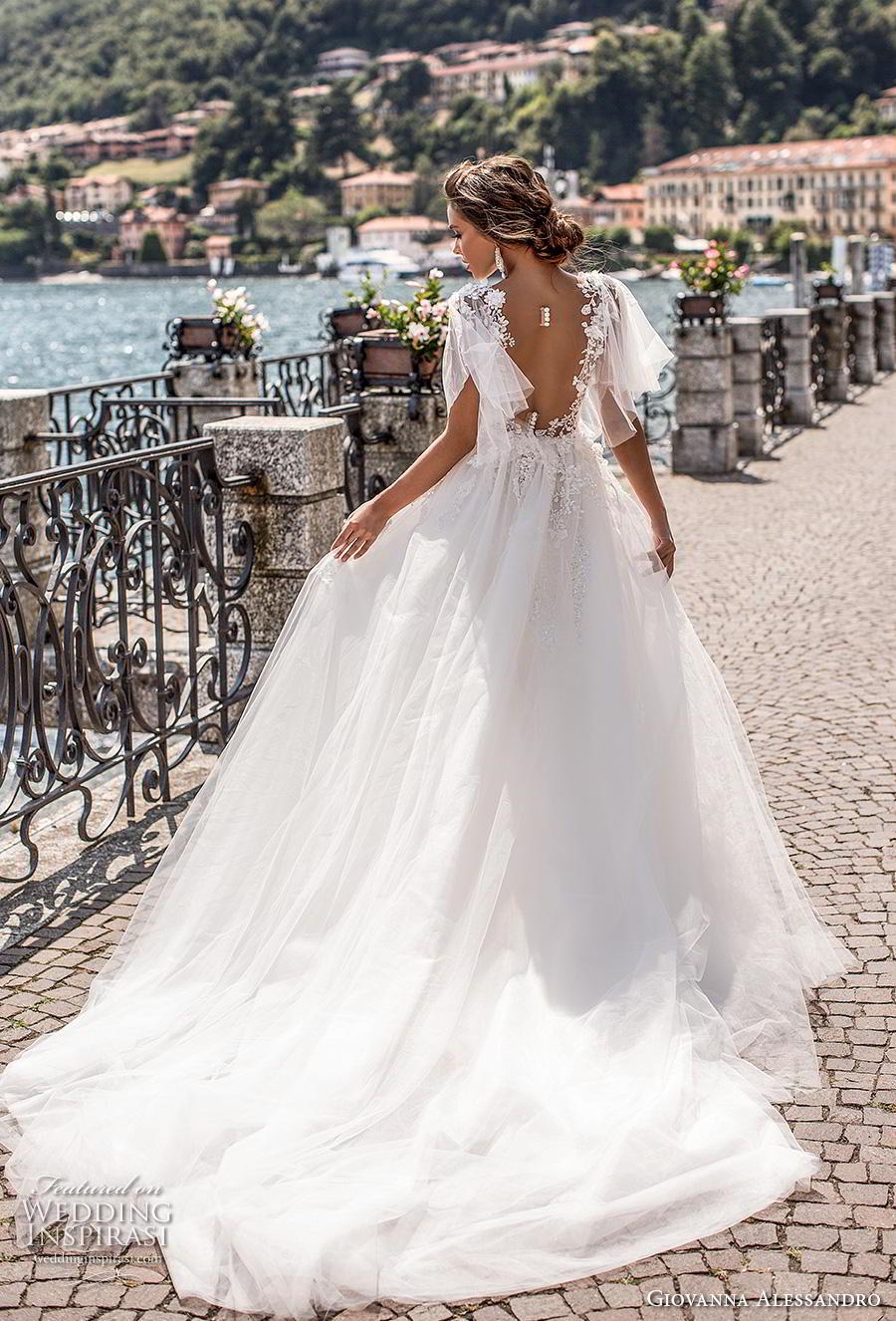 giovanna alessandro 2019 bridal half handkerchief sleeves v neck full embellishment romantic sheath wedding dress a  line overskirt sheer back chapel train (5) bv