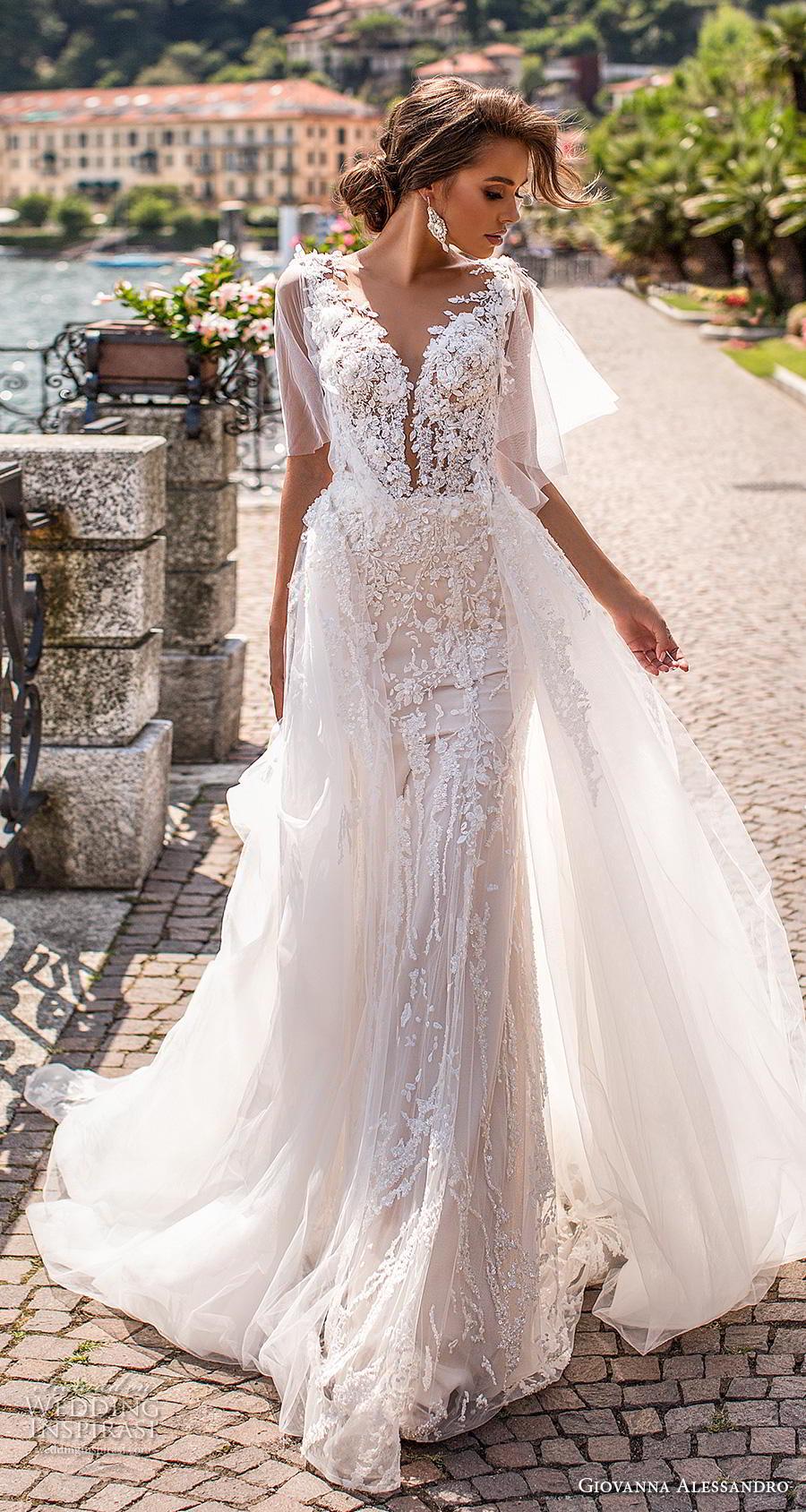 giovanna alessandro 2019 bridal half handkerchief sleeves v neck full embellishment romantic sheath wedding dress a  line overskirt sheer back chapel train (5) mv
