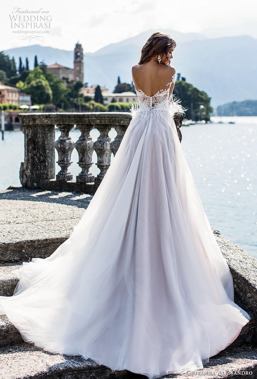 giovanna alessandro 2019 bridal long sleeves off the shoulder sweetheart neckline heavily embellished bodice romantic a  line wedding dress mid back chapel train (1) bv