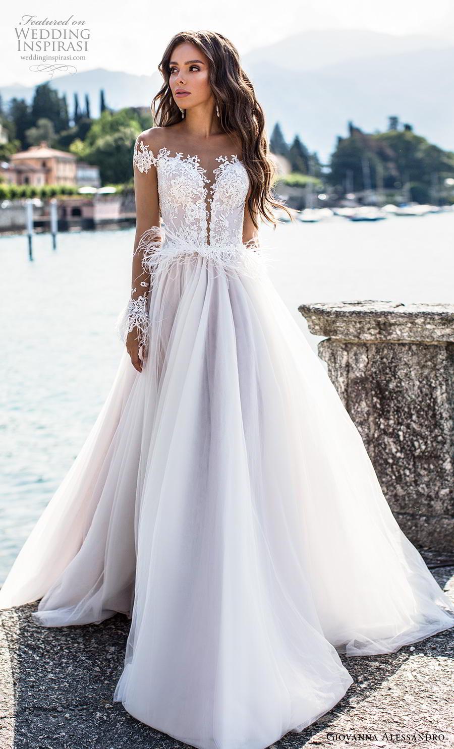 giovanna alessandro 2019 bridal long sleeves off the shoulder sweetheart neckline heavily embellished bodice romantic a  line wedding dress mid back chapel train (1) mv