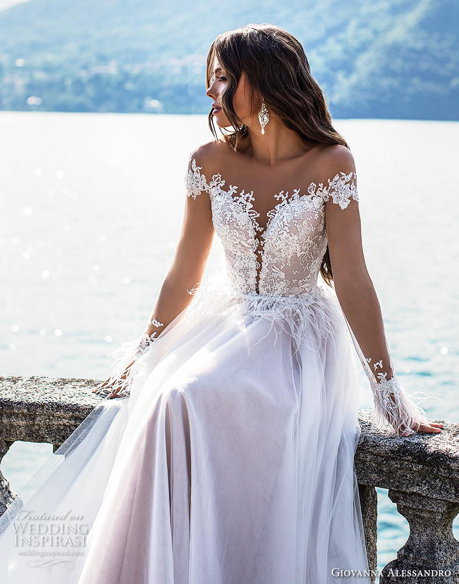 giovanna alessandro 2019 bridal long sleeves off the shoulder sweetheart neckline heavily embellished bodice romantic a  line wedding dress mid back chapel train (1) zv