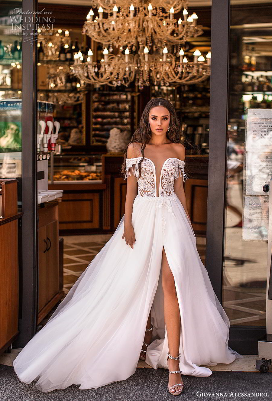 giovanna alessandro 2019 bridal off the shoulder deep plunging sweetheart neckline heavily embellished bodice slit skirt sexy soft a  line wedding dress chapel train (13) mv