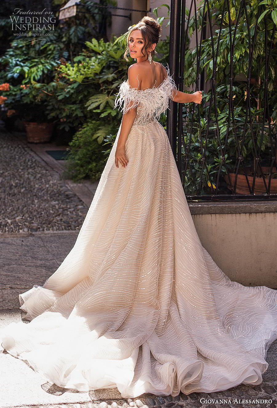 giovanna alessandro 2019 bridal off the shoulder sweetheart neckline full embellishment bustier bodice romantic soft a  line wedding dress chapel train (14) bv