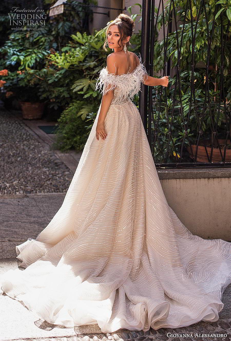 giovanna alessandro 2019 bridal off the shoulder sweetheart neckline full embellishment bustier bodice romantic soft a  line wedding dress chapel train (14) bv