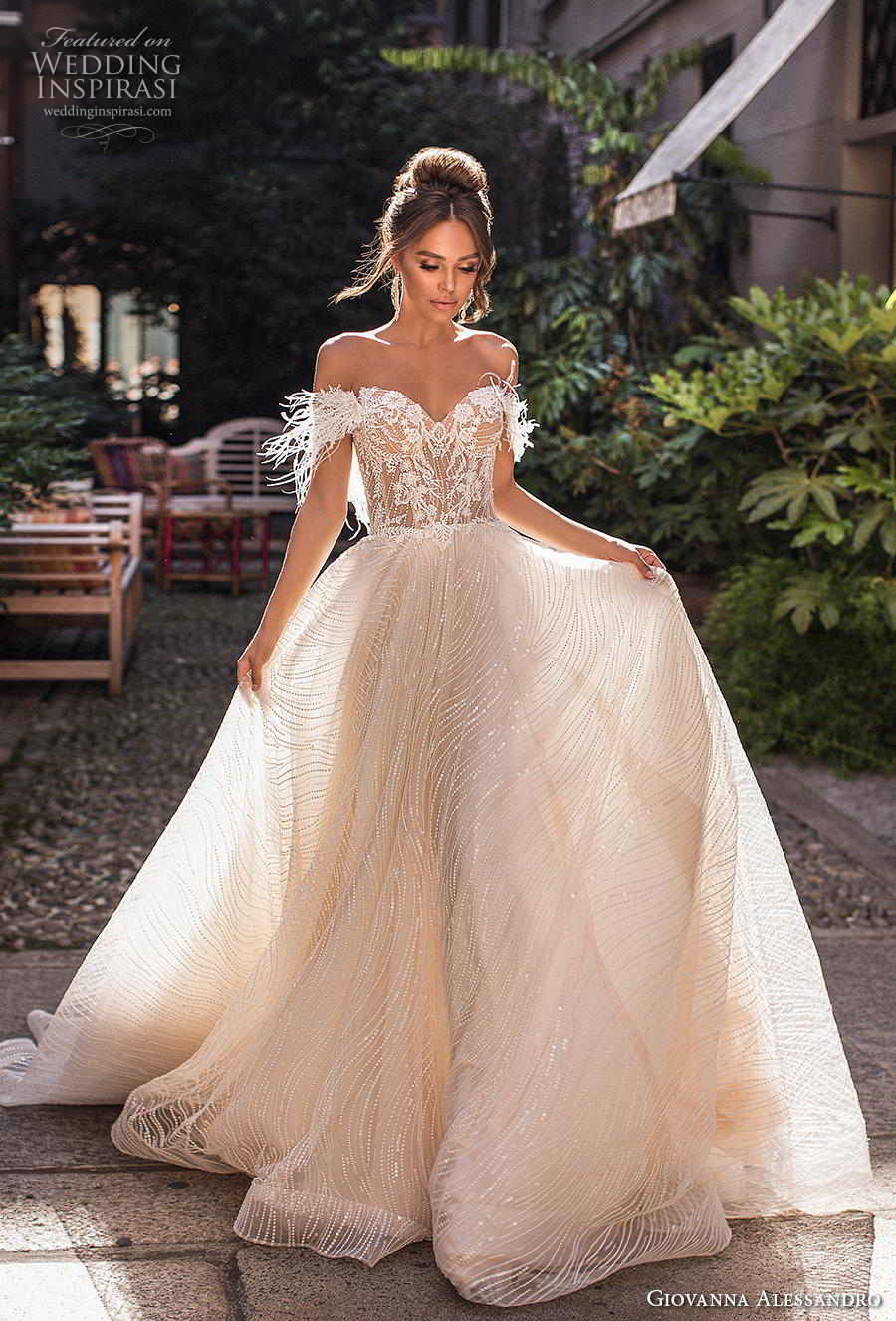 giovanna alessandro 2019 bridal off the shoulder sweetheart neckline full embellishment bustier bodice romantic soft a  line wedding dress chapel train (14) mv