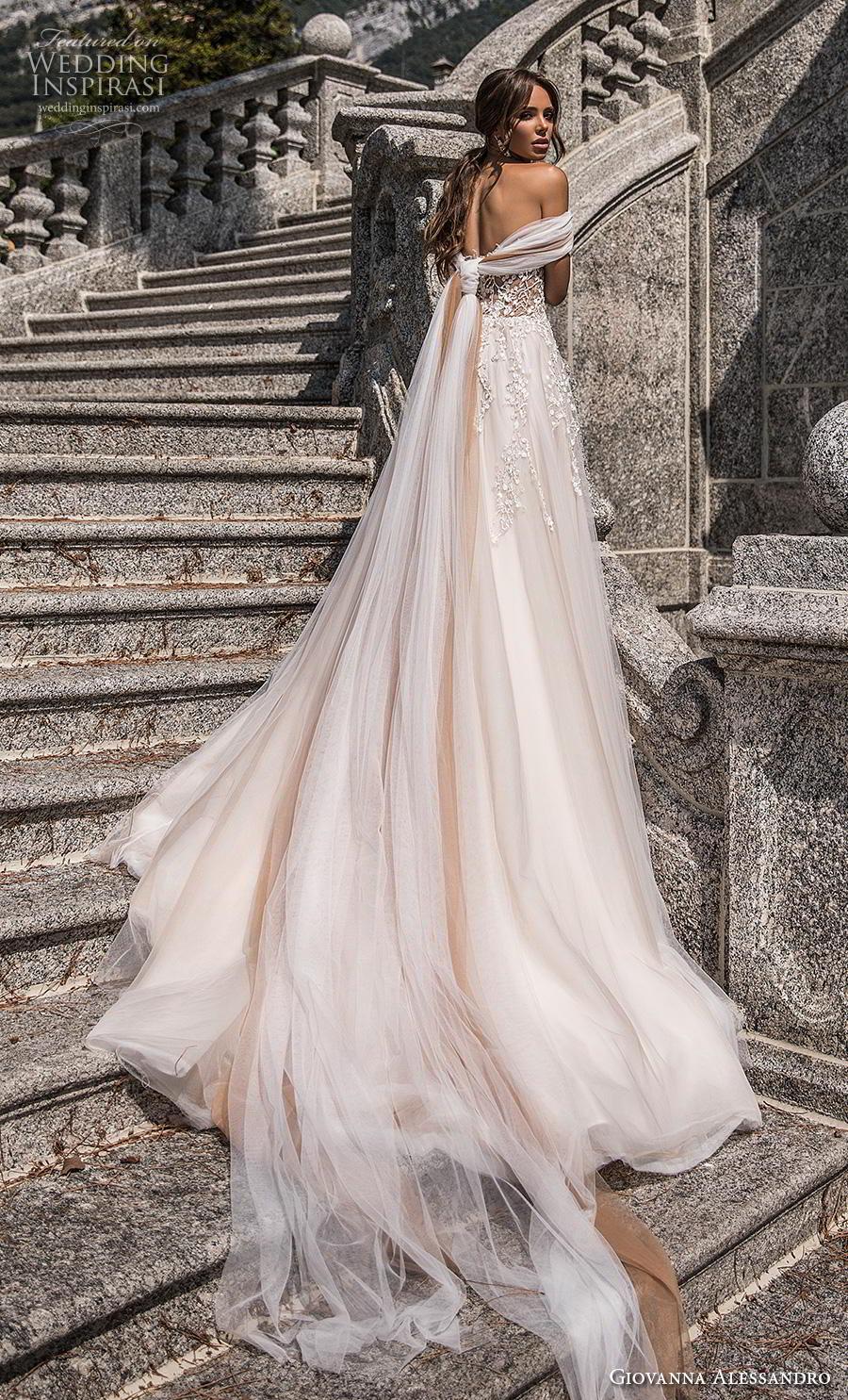 giovanna alessandro 2019 bridal off the shoulder sweetheart neckline heavily embellished bodice glamorous princess a  line wedding dress mid back chapel train (9) bv
