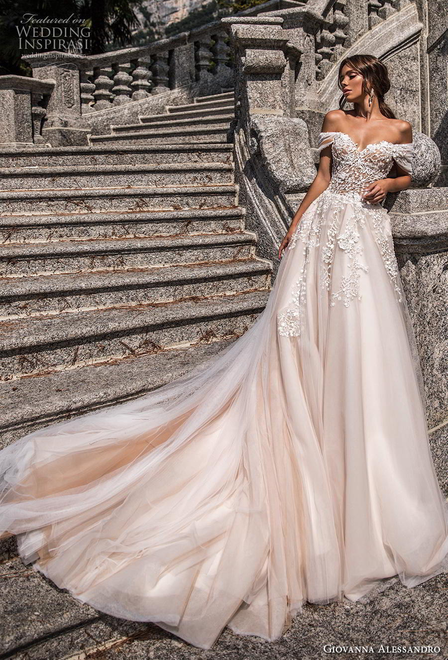 giovanna alessandro 2019 bridal off the shoulder sweetheart neckline heavily embellished bodice glamorous princess a  line wedding dress mid back chapel train (9) mv