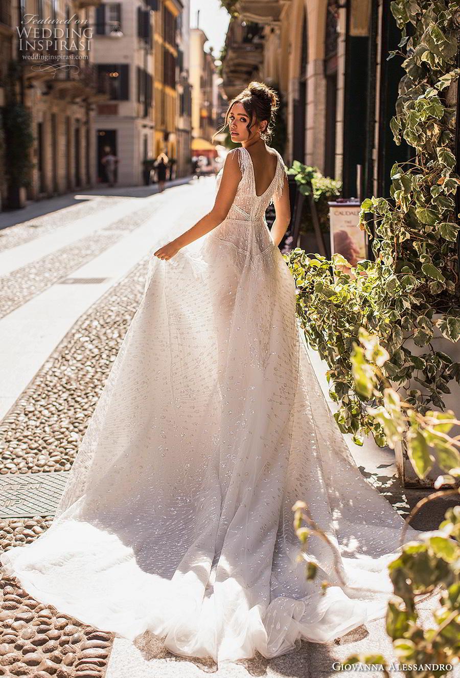 giovanna alessandro 2019 bridal sleeveless fringe strap deep v neck full embellishment open side romantic soft a  line wedding dress v back chapel train (8) bv